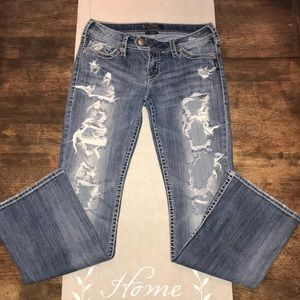 """SILVER """"TUESDAY"""" Distressed Light Wash Jeans 29"""